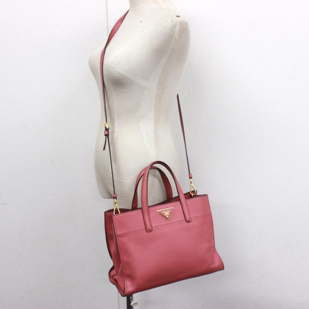 0ca0c9d19ff2 AUTHENTIC PRADA 2 WAY Hand Bag Shoulder Bag Hand Bag Rose Pink Leather   BN2603
