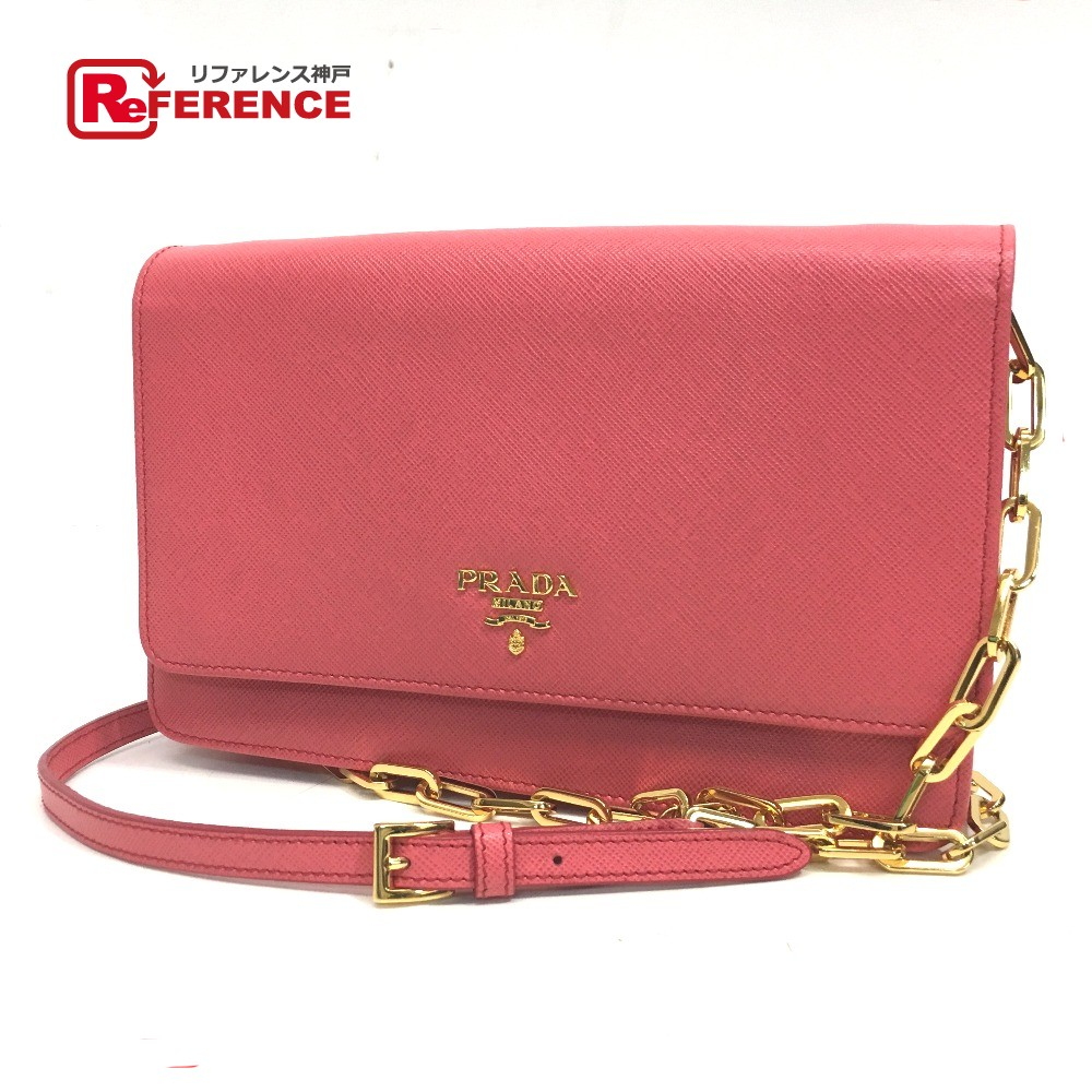 ab8feaa43b63 AUTHENTIC PRADA SAFFIANO METAL 2 WAY ChainShoulder Clutch Bag Chain Wallet Shoulder  Bag pink Saffiano Leather 1M1405