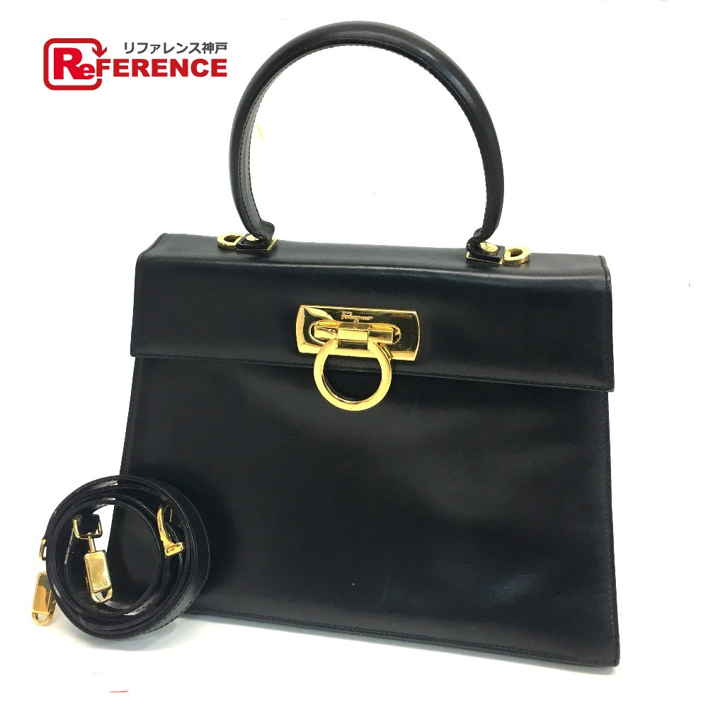 bcfcdd8ccbd AUTHENTIC Salvatore Ferragamo Shoulder Bag Hand Bag Gancini 2way bag  Black GoldHardware Leather