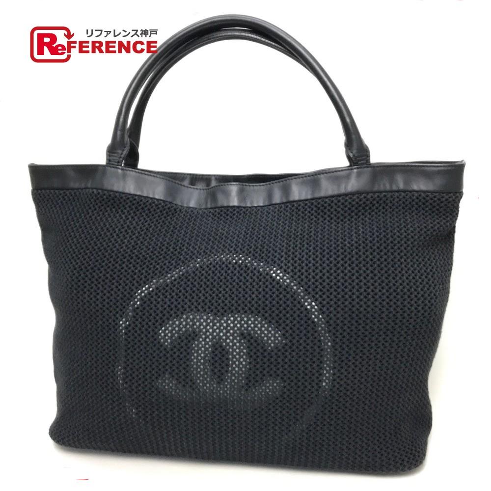 CHANEL Chanel tote bag mesh CC pile shoulder bag cotton   leather black  Lady s b523287e189ba