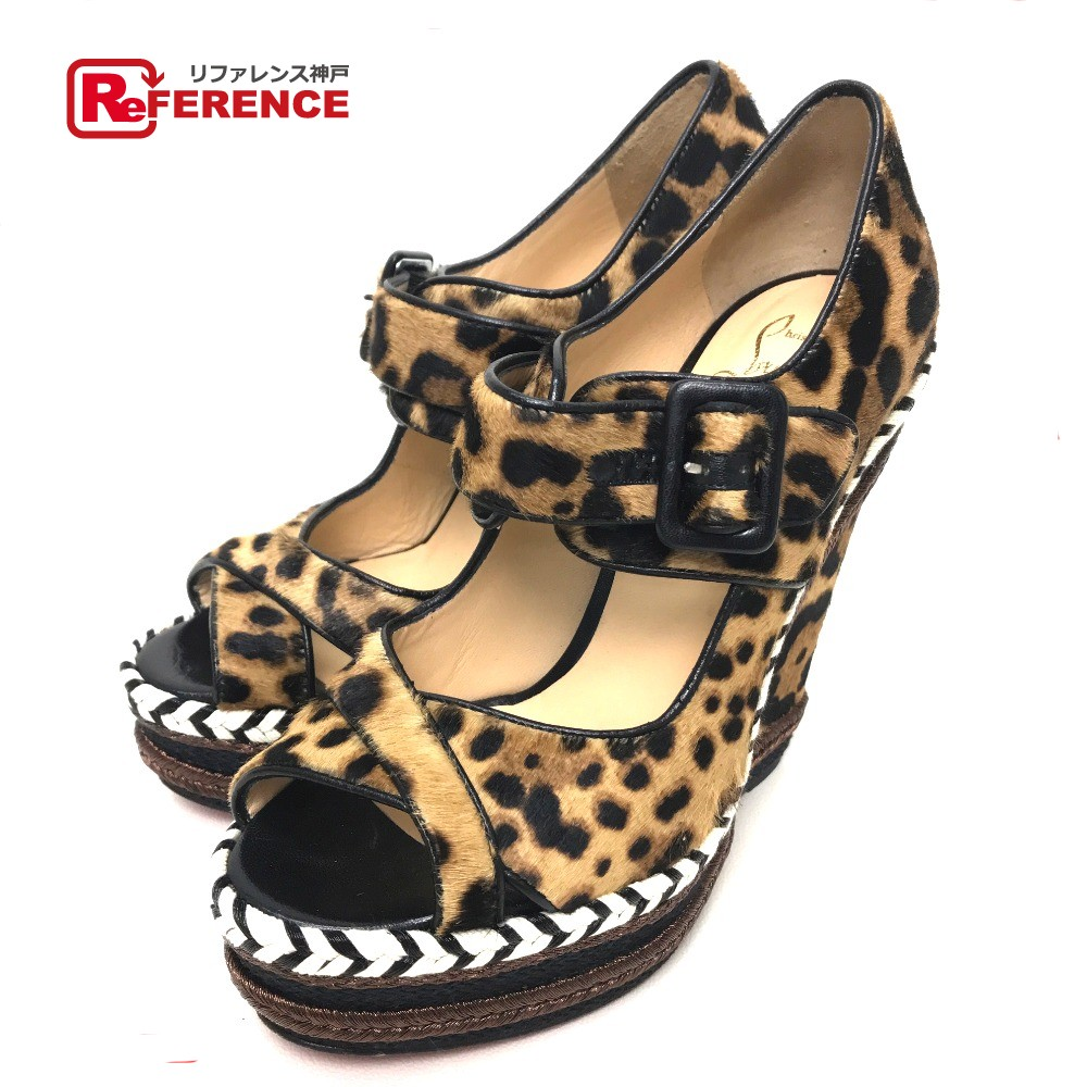check out aae4b 45070 AUTHENTIC Christian Louboutin Leopard Wedge sole pumps BrownBased Pony-Hair  Printed: 38