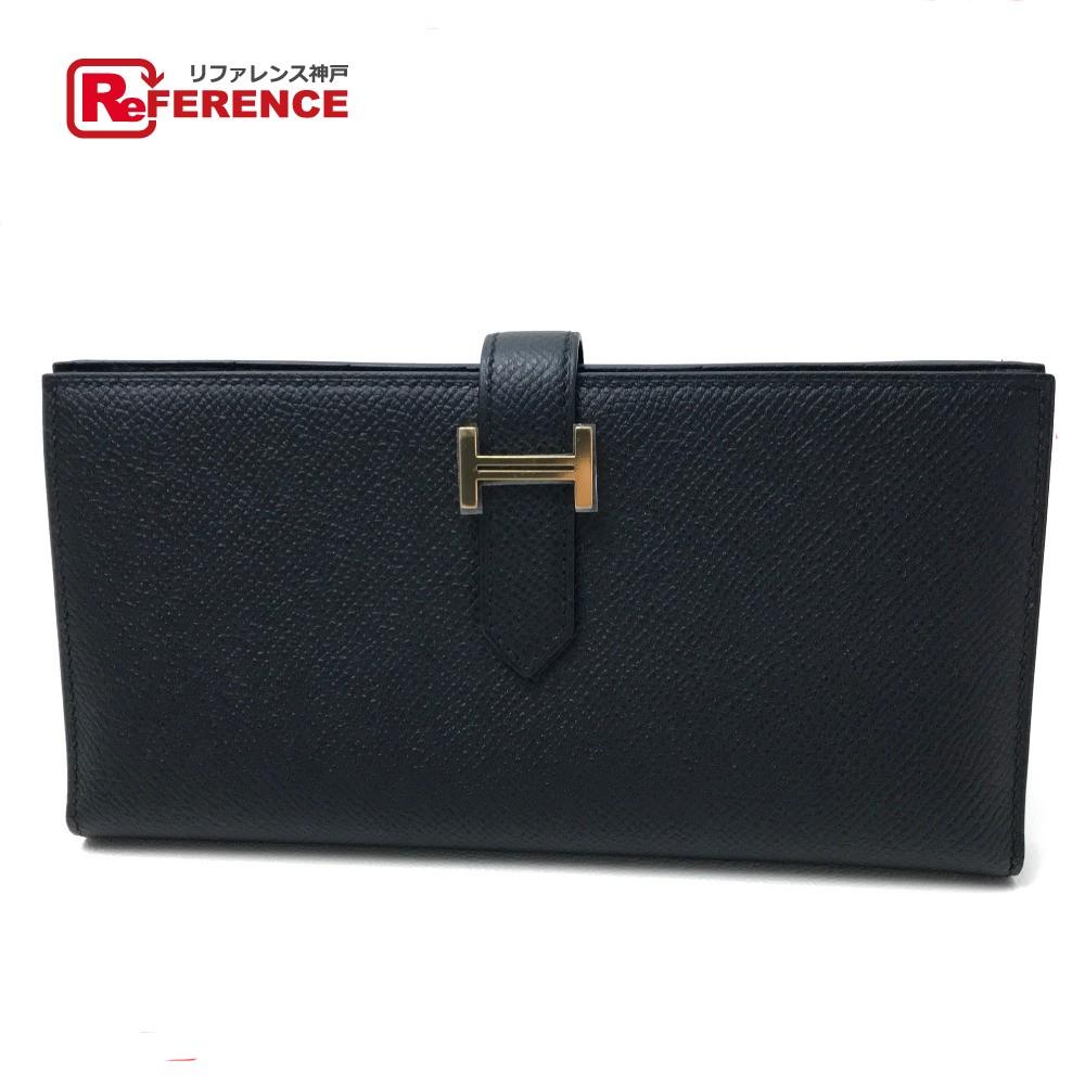 HERMES エルメス 二つ折り長財布 ベアンスフレ メンズ レディース 長財布(小銭入れあり) エプソン/ ブラック レディース【新品】