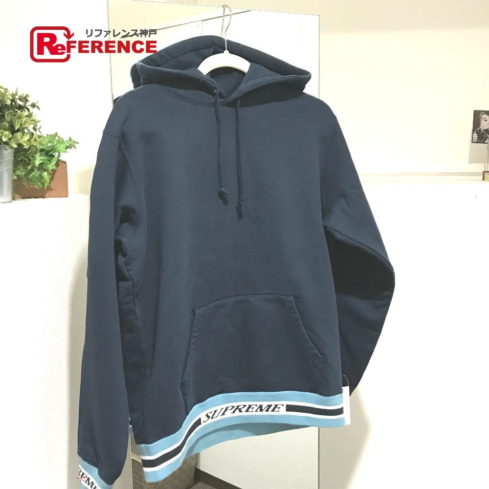Supreme シュプリーム 18AW Striped Rib Hooded Sweatshirt パーカ トップス パーカー コットン ネイビー メンズ 未使用【中古】