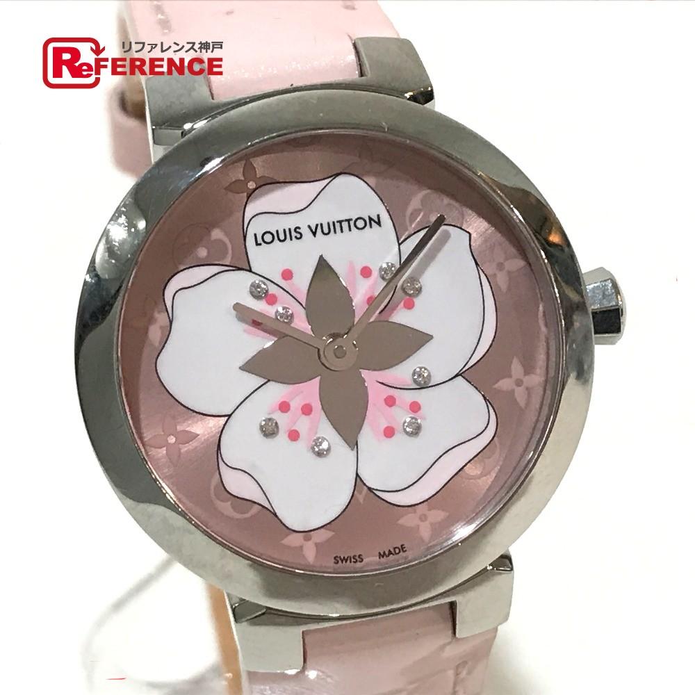 LOUIS VUITTON ルイ・ヴィトン Q12MG*E レディース腕時計 タンブール・サクラ 8Pダイヤ 腕時計 SS/モノグラムヴェルニ シルバー レディース【中古】