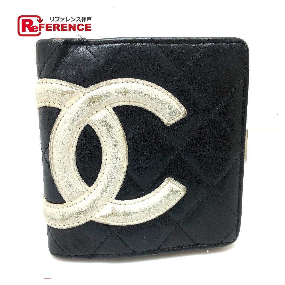 CHANEL シャネル A26720 がま口財布 カンボンライン 二つ折り財布(小銭入れあり) カーフスキン ブラック レディース【中古】