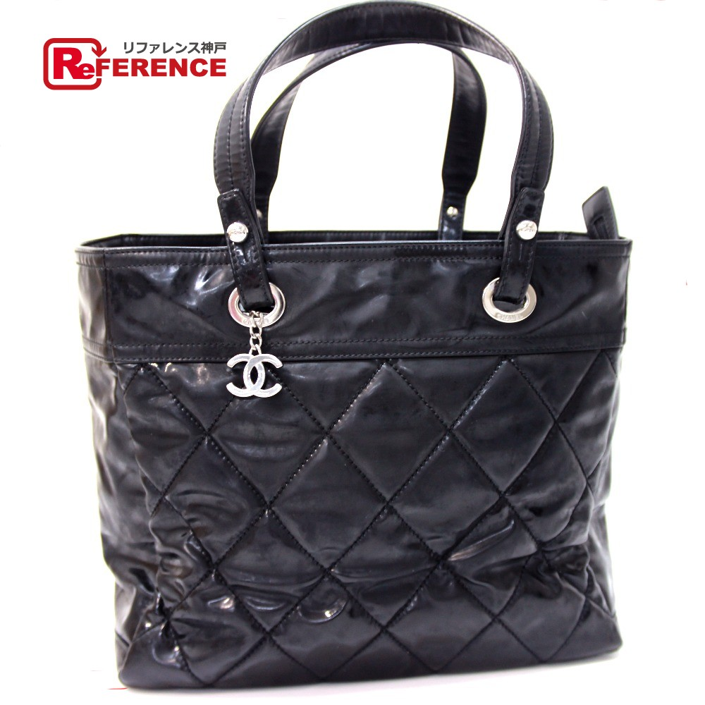 68830dc0ec14d1 BRANDSHOP REFERENCE: AUTHENTIC CHANEL Paris Biarritz Shoulder Bag Tote Bag  Black enamel | Rakuten Global Market