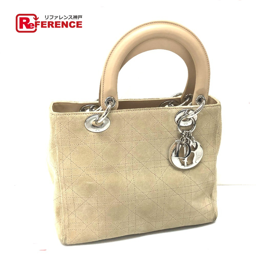 590488f691fb AUTHENTIC Christian Dior Lady CHRISTIAN DIOR Women s Bag Hand Bag Beige SilverHardware  suede Leather