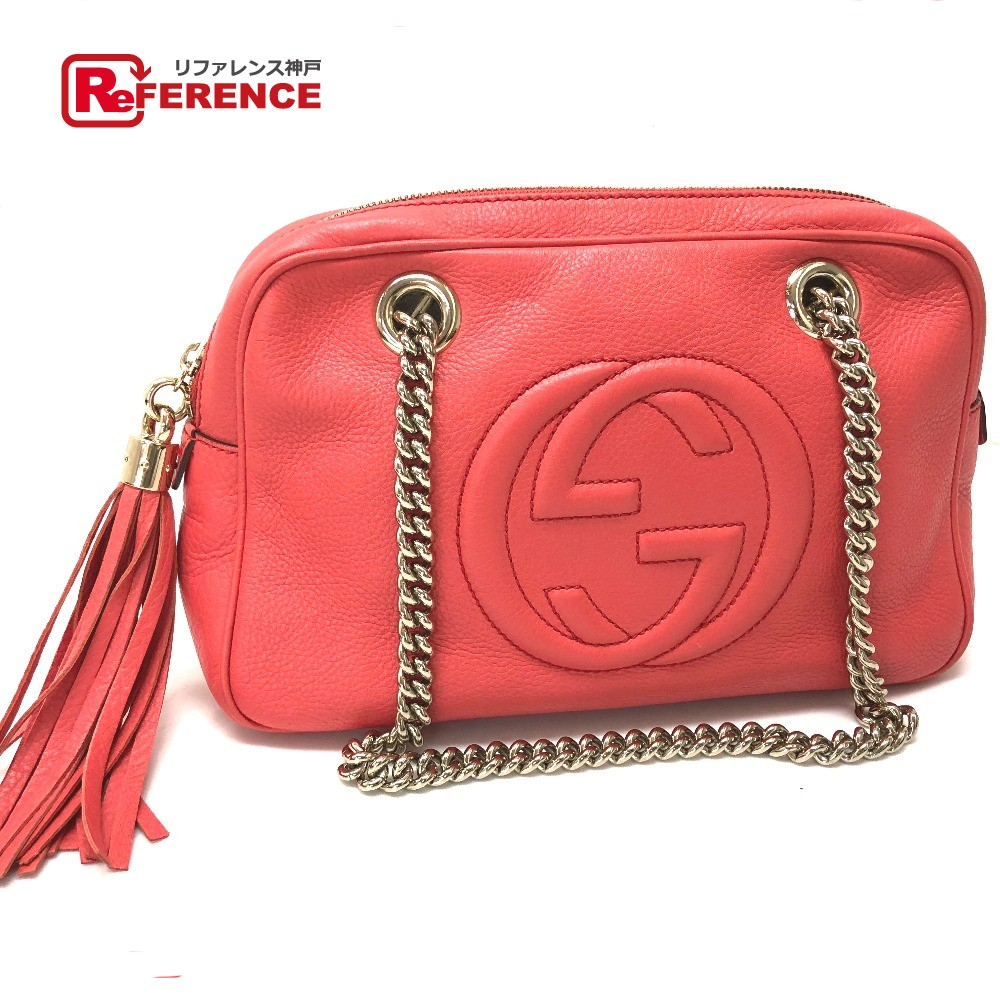 3790ca272b4c AUTHENTIC GUCCI Small SOHO (Soho) Double Chain Shoulder Bag Begonia pink  Leather 308983 ...