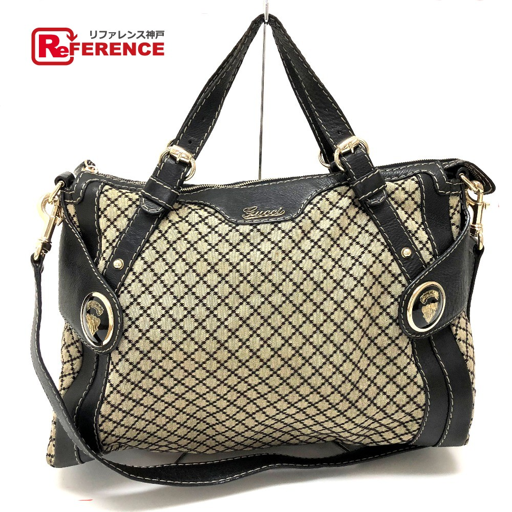400c9a1fa3f646 AUTHENTIC GUCCI Diamante Hand Bag Shoulder Bag 2way bag Black/Beige Canvas/ Leather 223930 ...