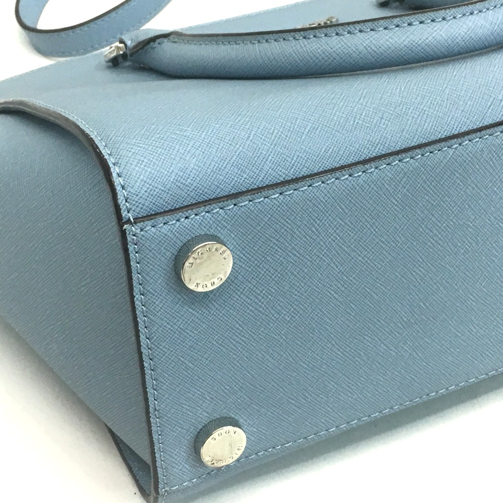 7845033f19ef9c ... AUTHENTIC Michael Kors Shoulder Bag Selma 2 WAY Tote Bag Light blue  Leather/Leather ...