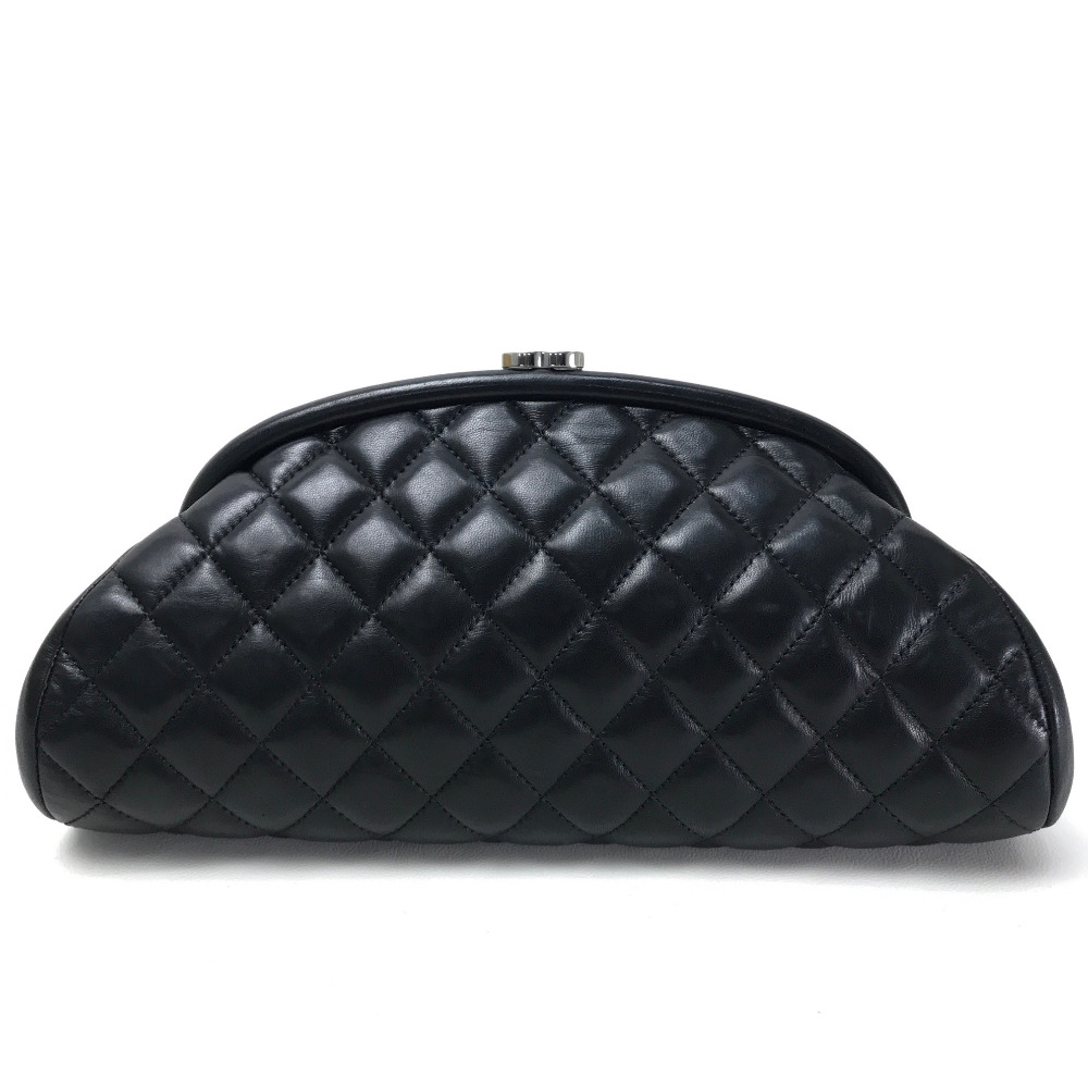 6ef2c5e0bd3 BRANDSHOP REFERENCE  AUTHENTIC CHANEL Matelasse Kisslock Pouch Clutch bag  Black Lambskin Leather    Rakuten Global Market