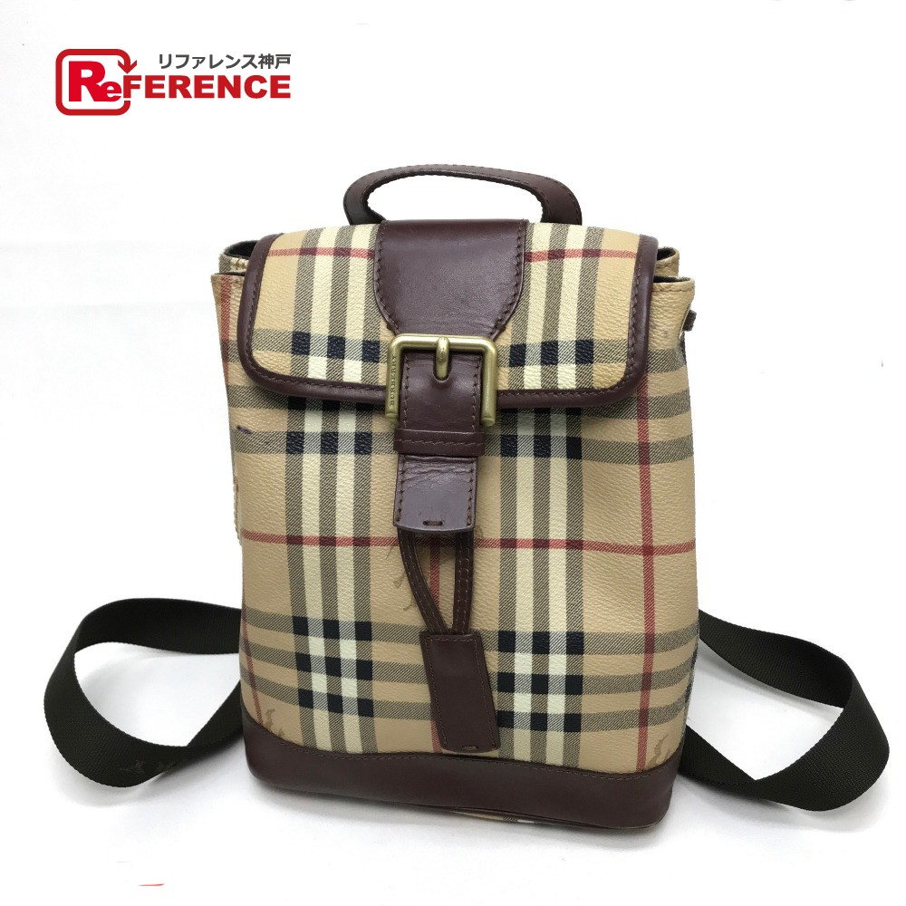 BRANDSHOP REFERENCE  AUTHENTIC BURBERRY Men s Women s Nova check pattern Backpack  Backpack Backpack-Bag Beige PVC x Leather    Rakuten Global Market ed2898afd3