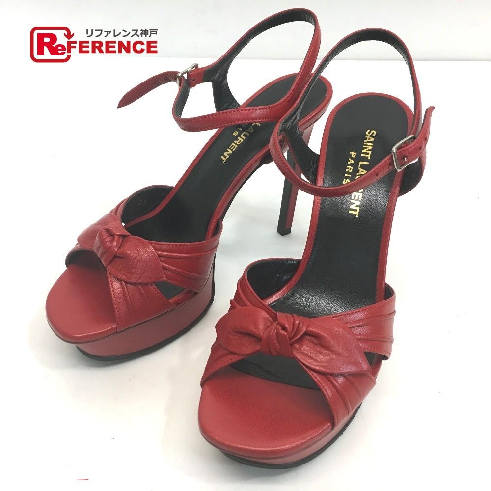 d04276afb9f AUTHENTIC SAINT LAURENT PARIS ribbon Candy tribute High heels Sandals Red  Leather 6 ...