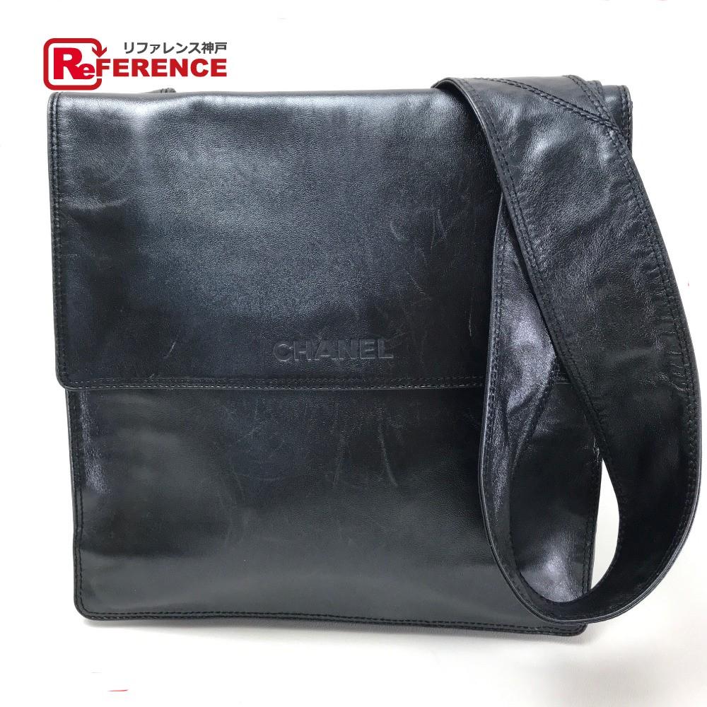 CHANEL シャネル A13146  ロゴ メンズ レディース ショルダーバッグ レザー/ メタリックブラック系 レディース【中古】