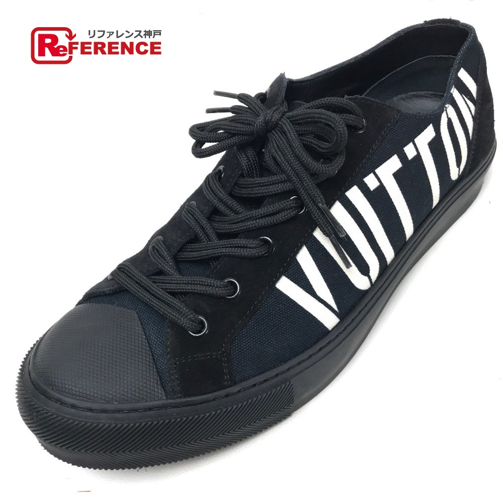 LOUIS VUITTON ルイ・ヴィトン 靴 ロゴ タトゥーライン スニーカー キャンバス/スエード ブラック メンズ【中古】
