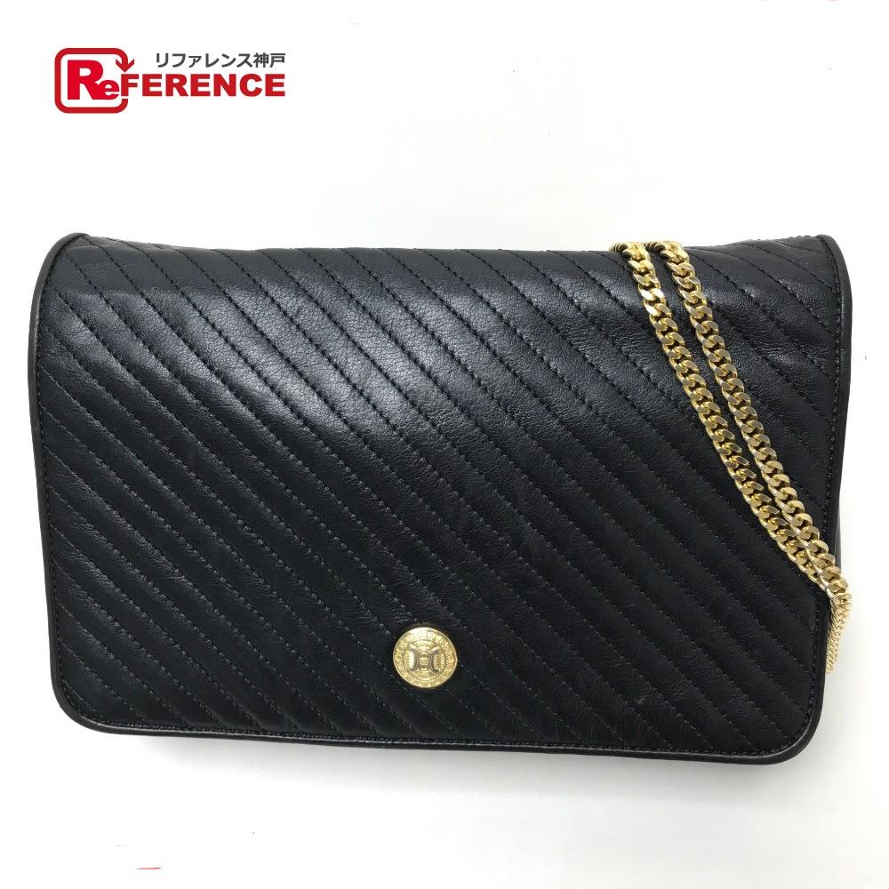 CELINE Celine clutch bag 2WAY chain shoulder bag shoulder bag leather    black Lady s 6ed57c38dd773