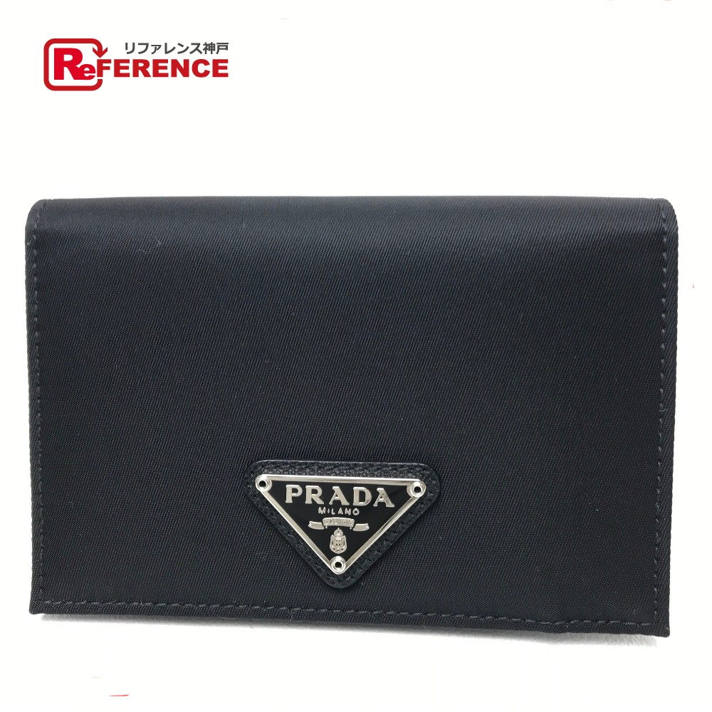PRADA プラダ 1M0504 ロゴプレート  財布 小銭入れ カードケース 2つ折りコインケース メンズ レディース コインケース ナイロン×レザー/ ブラック レディース 新品同様【中古】