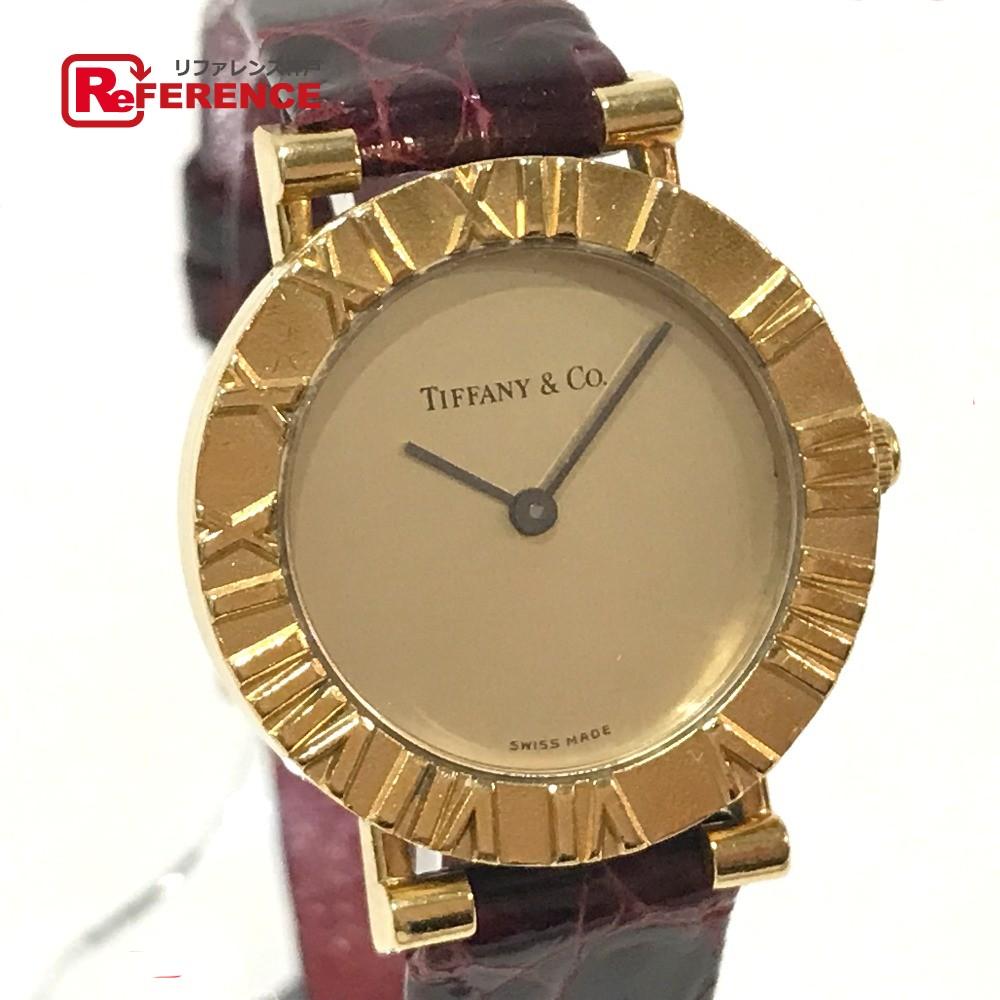 TIFFANY&Co. ティファニー D286.753 レディース腕時計 アトラス 腕時計 K18YG/革ベルト ゴールド レディース【中古】