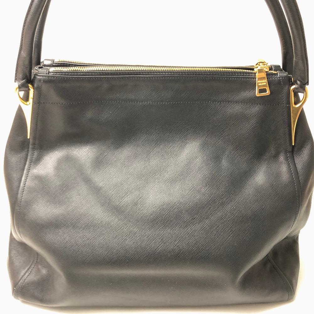 ed30fe618f91 AUTHENTIC PRADA Safiano Soft Tote Bag Shoulder Bag Black Saffiano Leather  BR4401