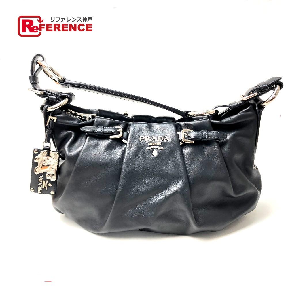f63eba094d2b AUTHENTIC PRADA SOFT CALF Shoulder semi Shoulder Bag Shoulder Bag Black  Leather BR3795