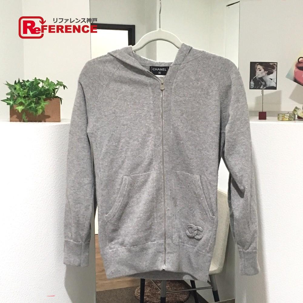 CHANEL シャネル アウター ジップアップセーター 14P セーター カシミア グレー レディース【中古】
