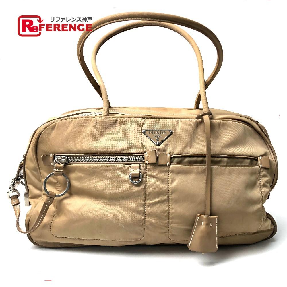 8338867b6e4a18 AUTHENTIC PRADA Mini Boston Hand Bag Shoulder Bag Beige Nylon/Leather ...
