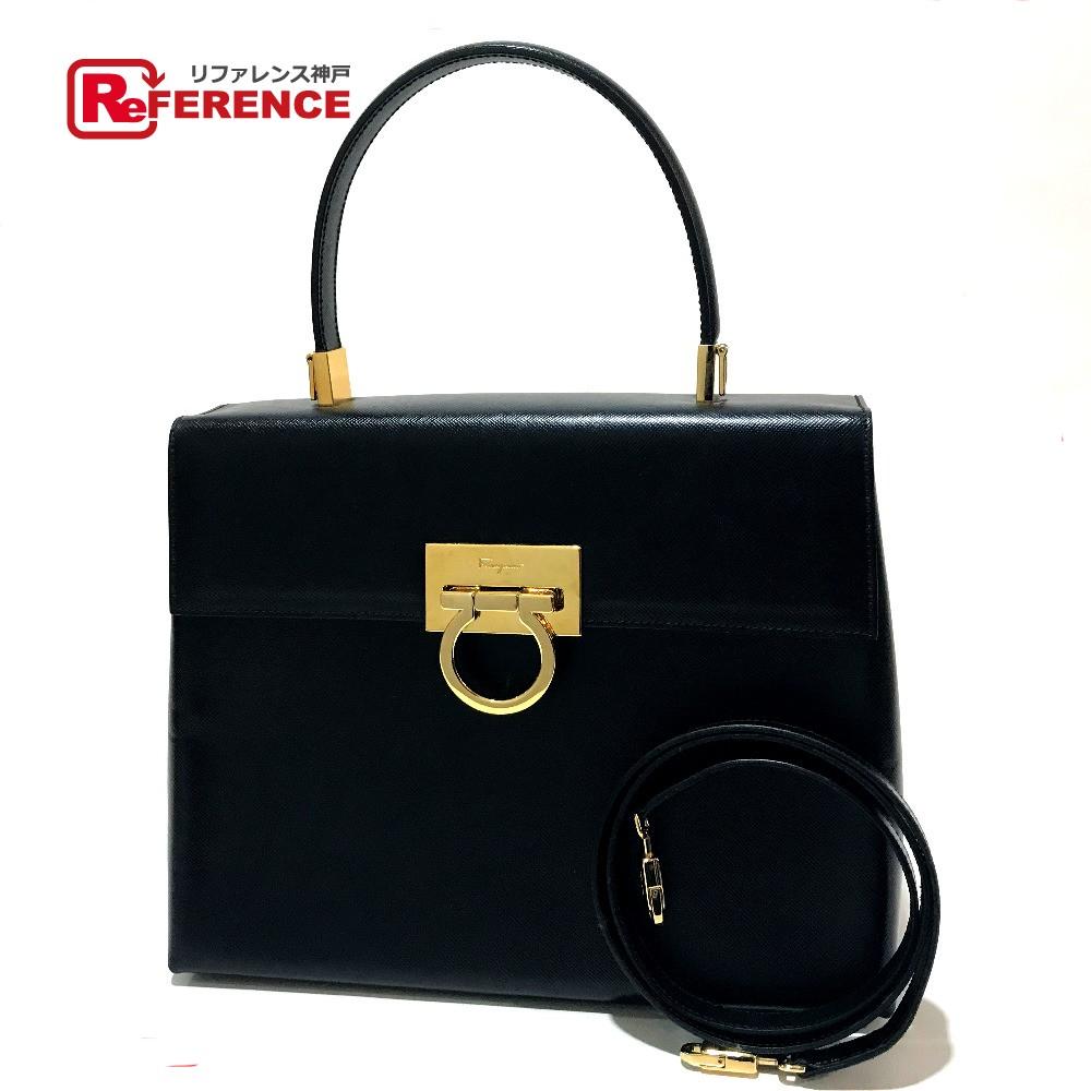 81b9b2edf599 AUTHENTIC Salvatore Ferragamo 2 WAY Gancini Shoulder Bag Hand Bag  Black GoldHardware Leather