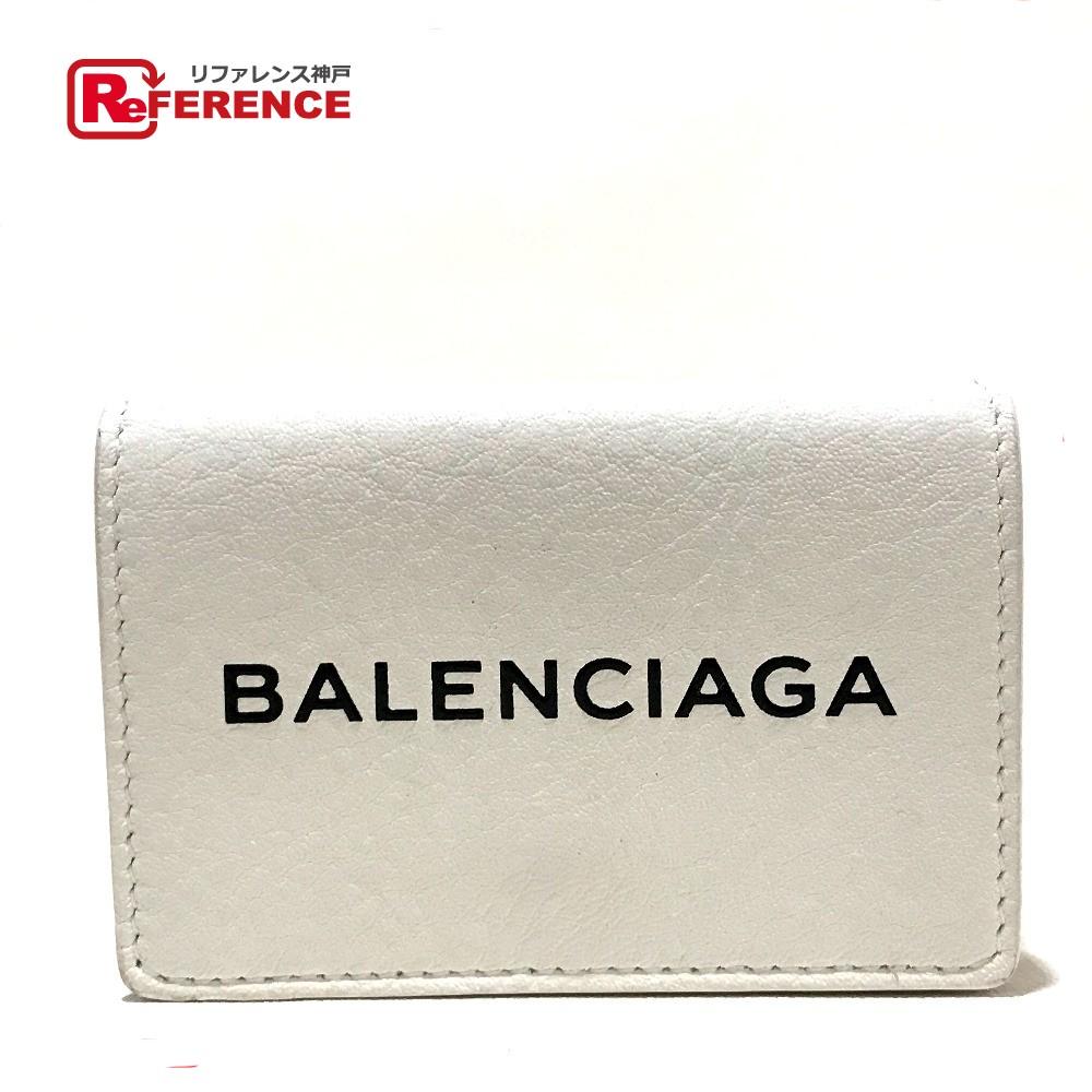 BALENCIAGA バレンシアガ 50505 短財布 エブリデイ ミニ ウォレット 三つ折り財布(小銭入れあり) レザー ホワイト レディース【中古】