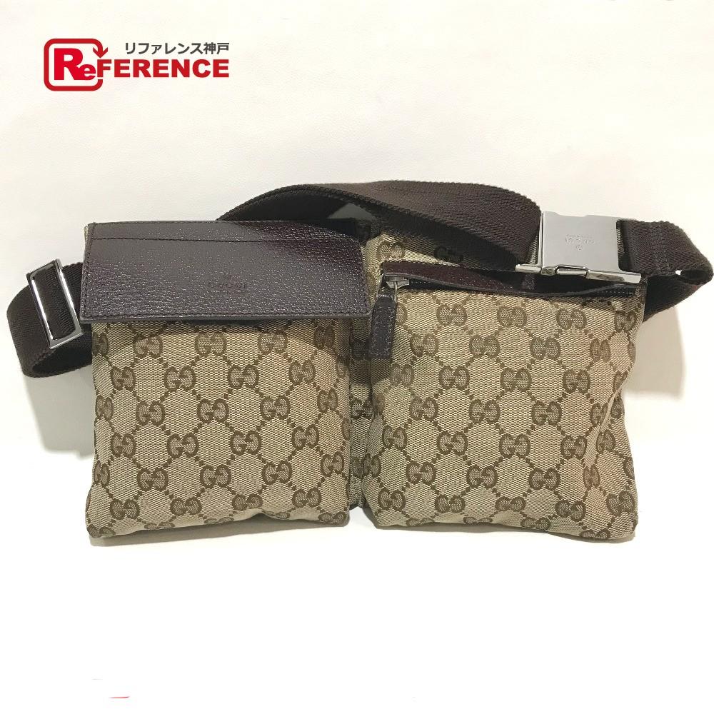 3d05061173eb07 GUCCI Gucci 28566 men's lady's waist porch GG logo body bag GG canvas x  leather beige ...