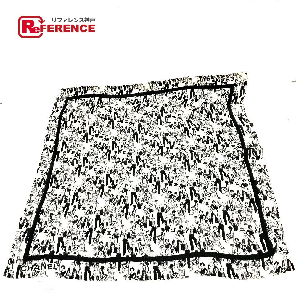 CHANEL シャネル タグ有 マドモアゼル 人物モチーフ CCココマーク スカーフ シルク100% ホワイト×ブラック レディース【中古】