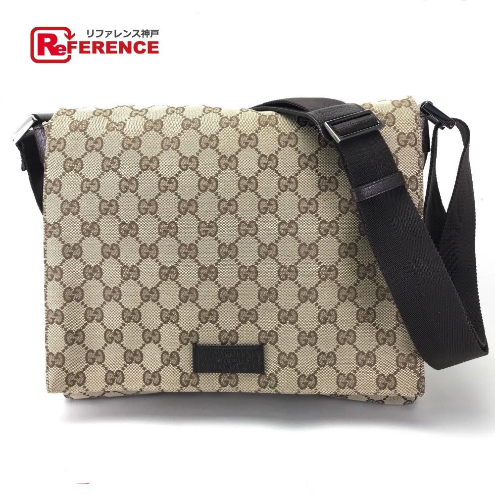 4d63c49734e6 GUCCI Gucci 146236 messenger bag men gap Dis shoulder bag GG canvas x  leather / beige ...