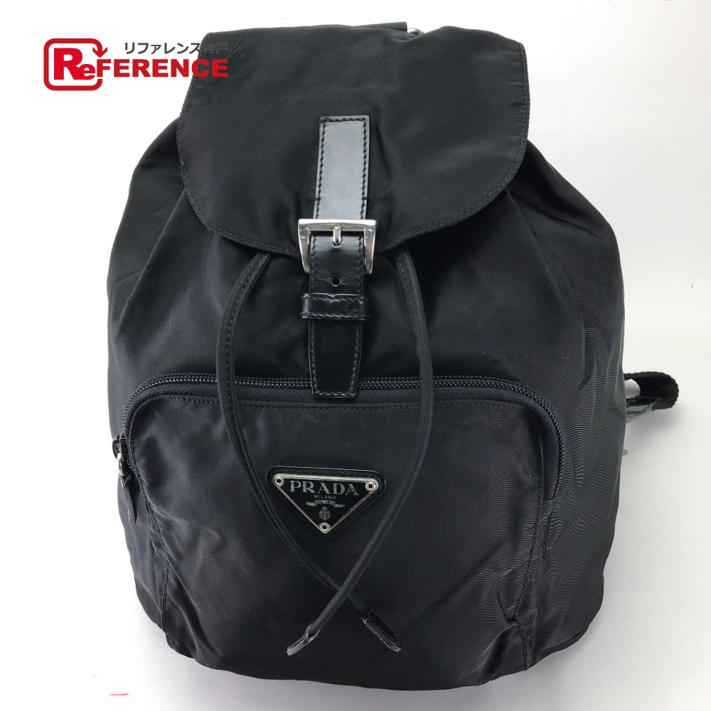 PRADA Prada B4650F rucksack backpack logo plate men gap Dis rucksack day  pack nylon   black Lady s b606f813659da