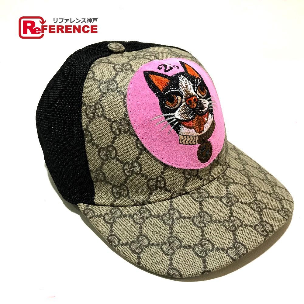 GUCCI グッチ 426887 キャップ帽 Bosco ボスコ GGスプリーム ベースボールハット 帽子 PVC/メッシュ ベージュ系×ブラック×ピンク系 レディース 新品同様【中古】