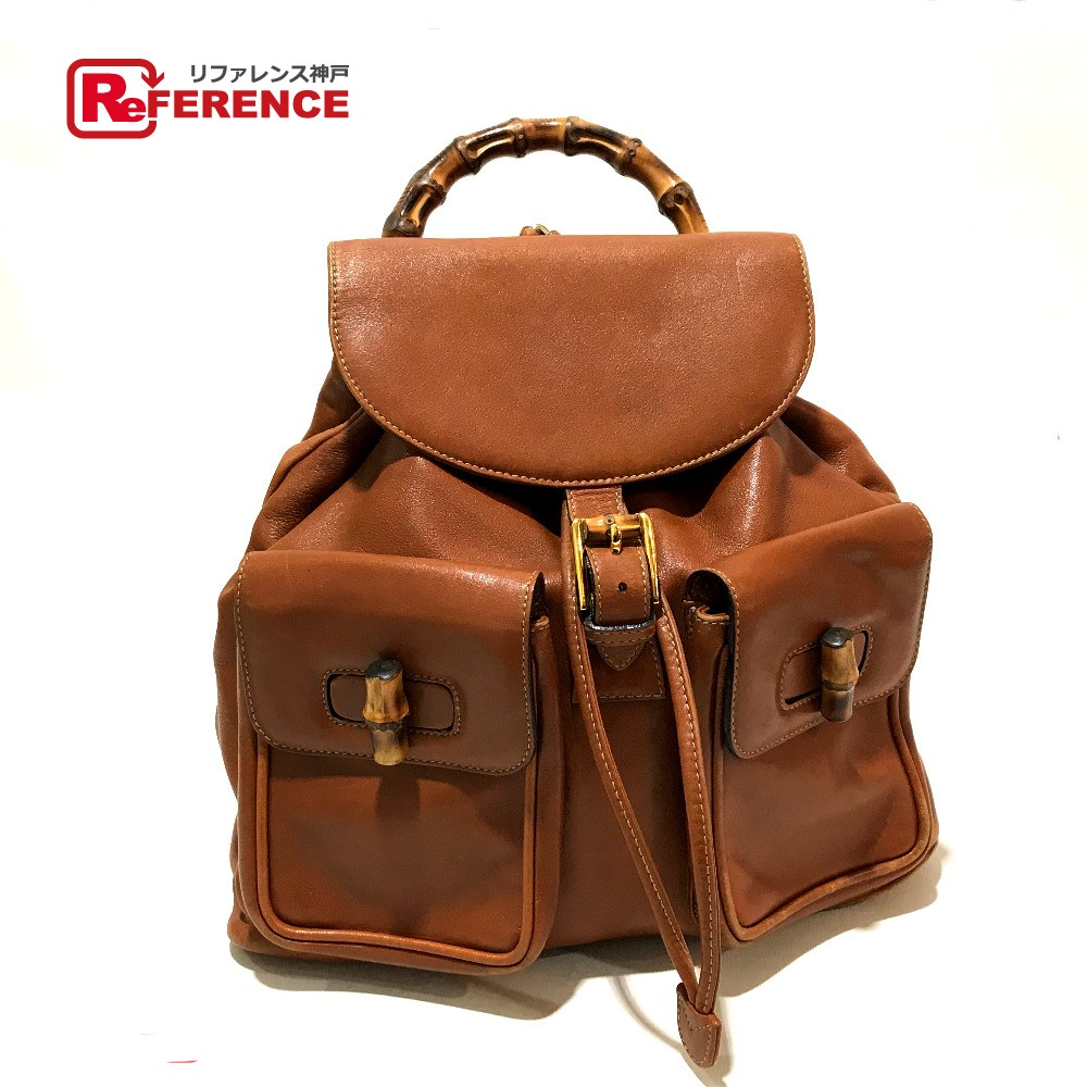 28dc1056afab3c GUCCI Gucci 0032058 rucksack old Gucci backpack rucksack day pack bamboo x leather  brown Lady's ...