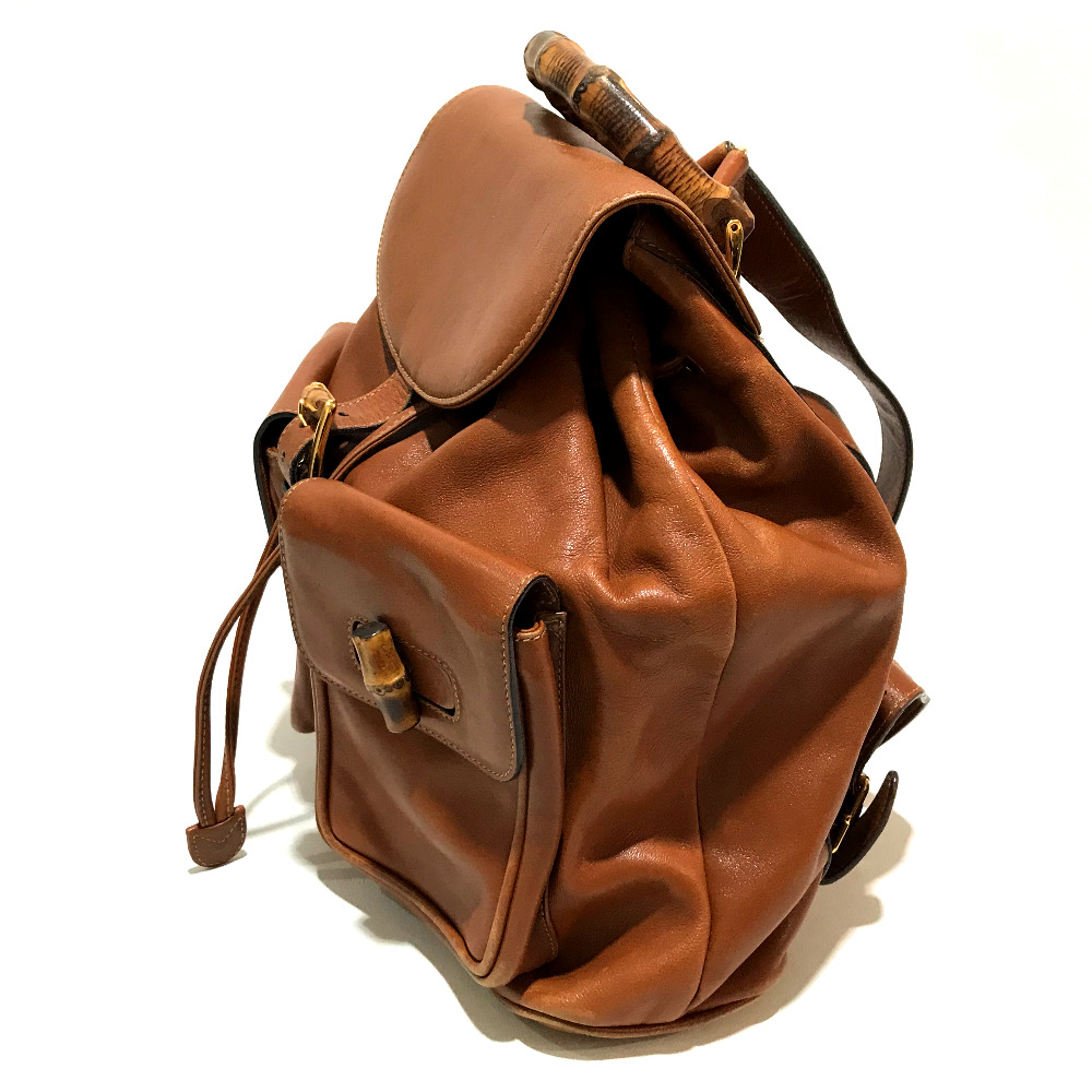 7f86be9a7fc48 GUCCI Gucci 0032058 rucksack old Gucci backpack rucksack day pack bamboo x leather  brown Lady s