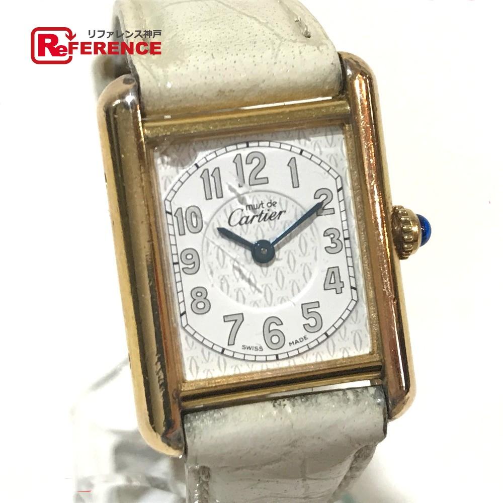 CARTIER カルティエ 2415 レディース腕時計 マストタンク ヴェルメイユ 腕時計 SV925/革ベルト ゴールド レディース【中古】
