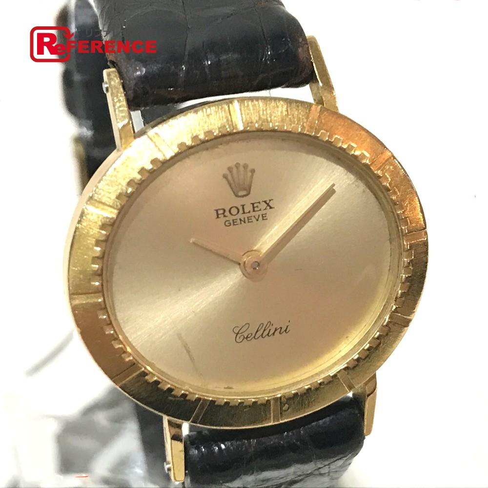 ROLEX ロレックス レディース腕時計 チェリーニ cal.1600 金無垢 腕時計 K18YG/革ベルト イエローゴールド レディース【中古】
