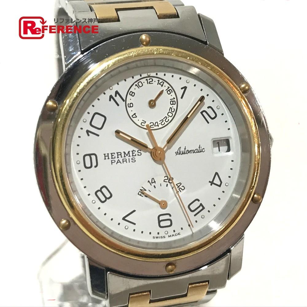 HERMES エルメス CL5.720 メンズ腕時計 クリッパー パワーリザーブ 裏スケ 腕時計 SS×GP/ イエローゴールド メンズ【中古】
