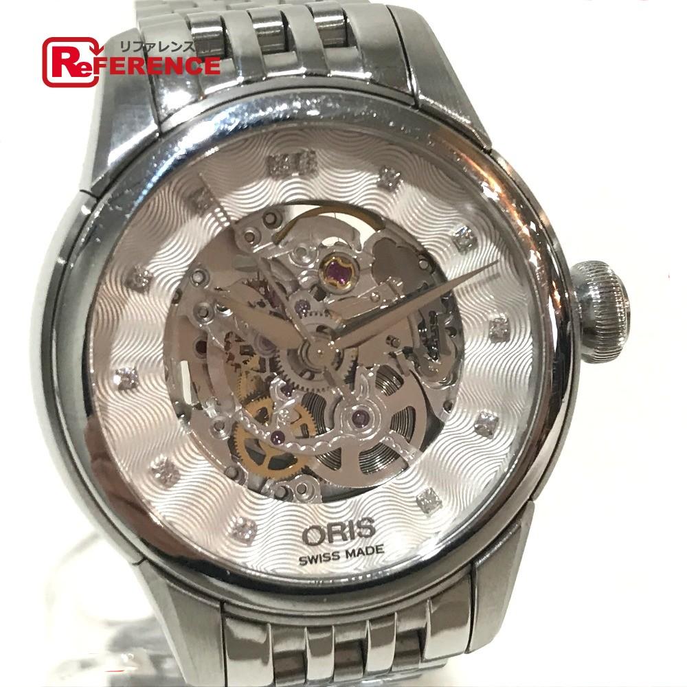 ORIS オリス 560 7687 4019M レディース腕時計 アートリエ 12Pダイヤ スケルトン 腕時計 SS シルバー レディース【中古】