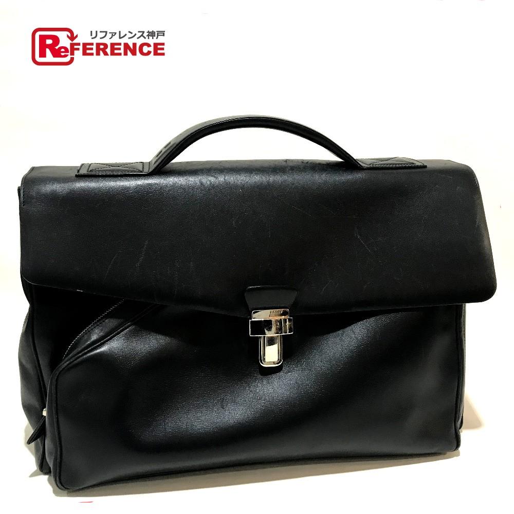 BALLY バリー トートバッグ ロック式 ビジネスバッグ レザー 黒 メンズ【中古】