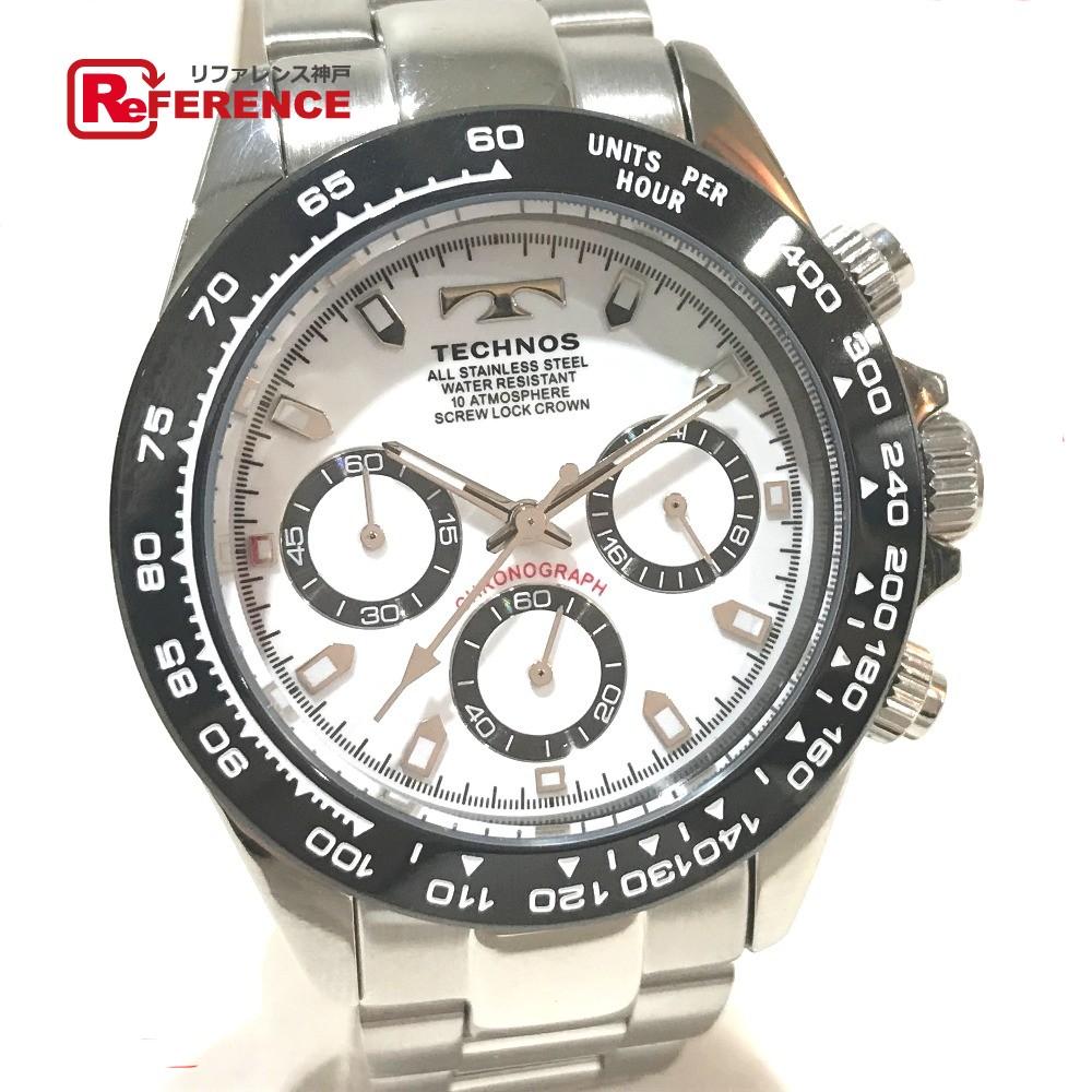 TECHNOS テクノス TSM411TW メンズ腕時計 クロノグラフ 腕時計 SS シルバー メンズ 未使用【中古】