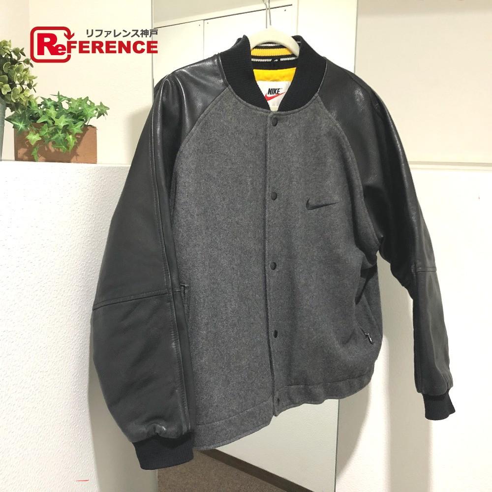 NIKE ナイキ スタジャン ジャケット レザー/ ブラック メンズ【中古】