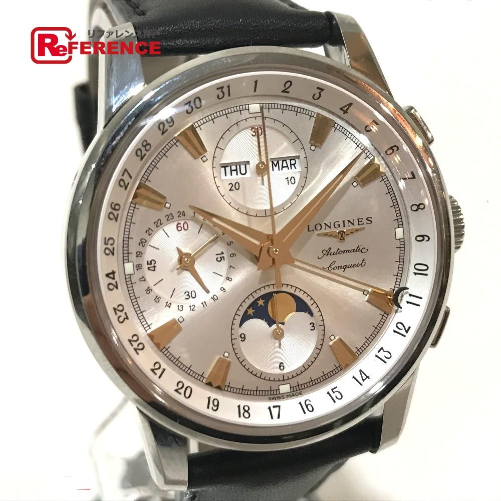 LONGINES ロンジン L1.642.4.77.2 メンズ腕時計 コンクエスト トリプルカレンダームーンフェイズ 腕時計 SS/革ベルト シルバー メンズ 未使用【中古】