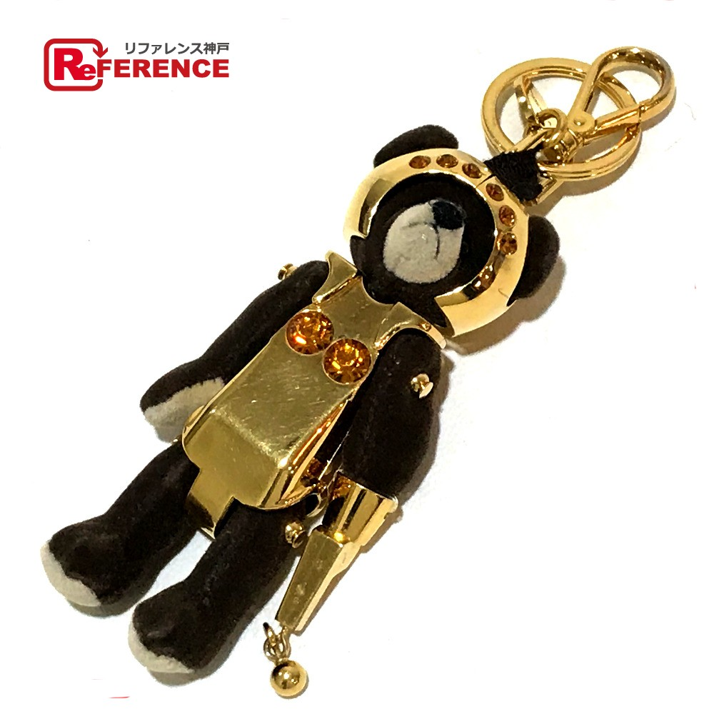 PRADA プラダ 1ARB01 バッグチャーム ベアー クマモチーフ キーホルダー キーリング ラインストーン/クリスタル ゴールド×ブラウン レディース【中古】