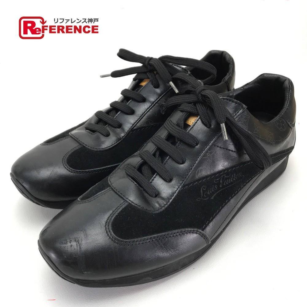 LOUIS VUITTON ルイ・ヴィトン 靴 モノグラム  スニーカー レザー/スエード ブラック メンズ【中古】