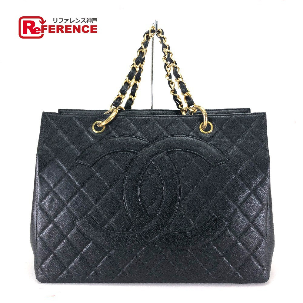 9bf2055cedb5 AUTHENTIC CHANEL CC Coco Quilted ChainShoulder Tote Bag Black Caviar Leather
