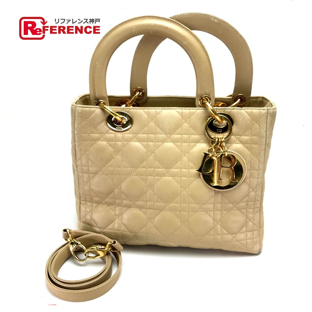 2f99f6537c6 AUTHENTIC Christian Dior Cannage Lady - CHRISTIAN DIOR Hand Bag Shoulder Bag  2way bag Beige Lambskin ...
