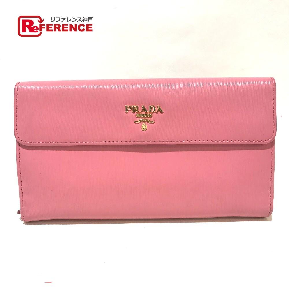 PRADA プラダ 1MH133 Wホック フラップ 長財布 二つ折り財布(小銭入れあり) レザー ピンク レディース【中古】