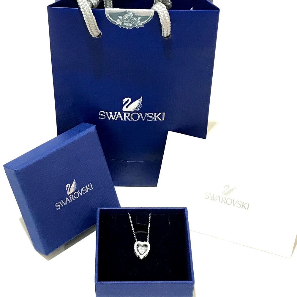 67f690d4d89 ... AUTHENTIC SWAROVSKI Dancing Crystal Rhodium Coated Crystal Pave Heart  Necklace Pendant Silver Rhinestone/plating 5272365