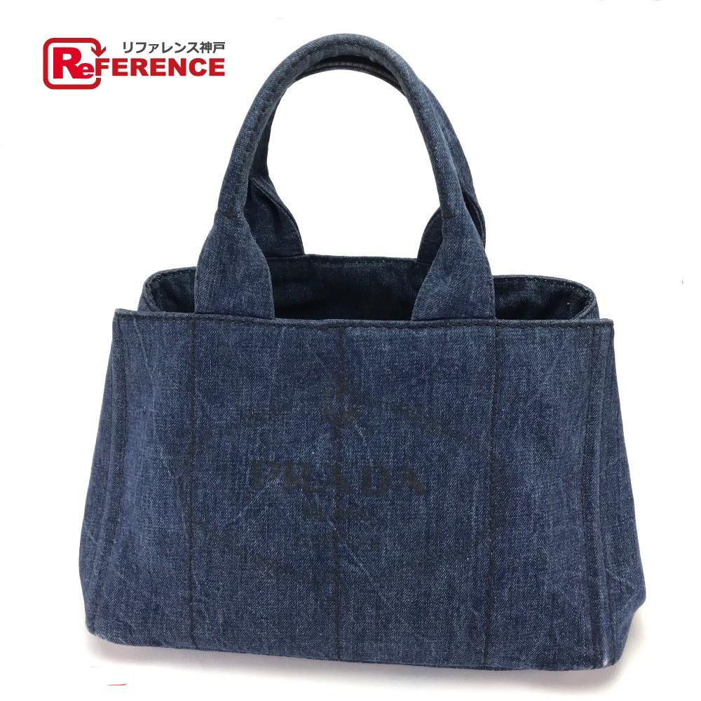 innovative design 541f3 7bb7d AUTHENTIC PRADA DENIM (Denim) Canapa Hand Bag Shoulder Bag Tote Bag blue  Cotton Denim B1877B
